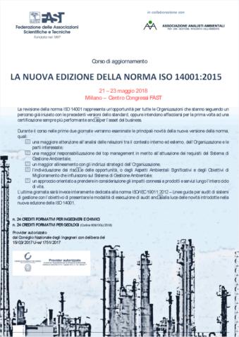 Corso di aggiornamento ISO 14001:2015 | Milano 21-23 maggio